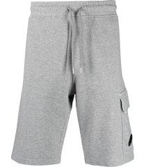 c.p. company lens jersey-fleece track shorts - grey