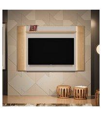 painel para tv até 60 polegadas aurora com led carvalho e off white
