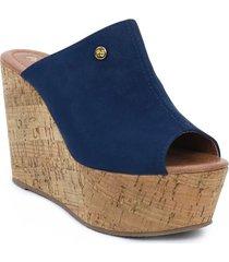 sandalia plataforma para dama color azul 042reinaazul