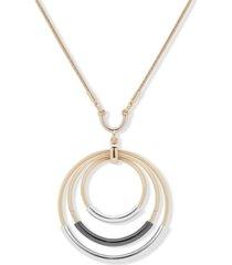 """dkny tri-tone orbital pendant necklace, 32"""" + 3"""" extender"""