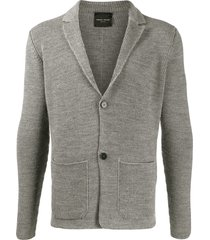 roberto collina ribbed knit button-front cardigan - grey