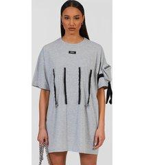 oversized utility t-shirt jurk met rits detail, grey marl