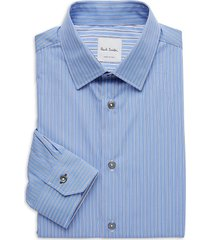 paul smith men's soho-fit pinstriped dress shirt - blue - size 16