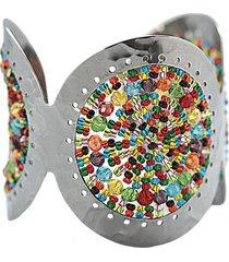 brazalete imperial tejido a mano acero multicolor bijulovers