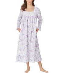 eileen west cotton floral-print venise lace ballet nightgown