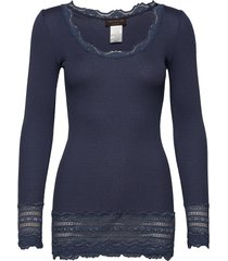 silk t-shirt medium ls w/wide lace t-shirts & tops long-sleeved blauw rosemunde