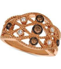 le vian chocolatier diamond lattice openwork statement ring (1/3 ct. t.w.) in 14k rose gold