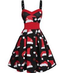 christmas hat print grommet strap mini cami dress