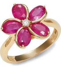 effy women's 14k yellow gold, ruby & diamond flower cocktail ring - size 7