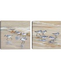 sandpiper beach i & ii amber by studio arts set of canvas art prints
