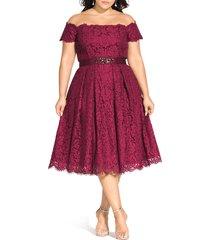 plus size women's city chic off the shoulder lace dreams dress, size medium - red