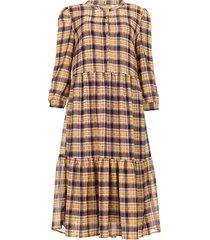 geruite jurk met lurex naja  paars