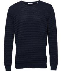 field o-neck sailor knit - gots/veg gebreide trui met ronde kraag blauw knowledge cotton apparel