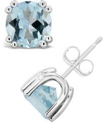 aquamarine (2-1/2 ct. t.w.) stud earrings in sterling silver