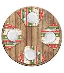 jogo americano   para mesa redonda wevans merry christmas  love decor