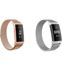 posh tech unisex loop fitbit charge 3 assorted stainless steel watch replacement bands - pack of 2