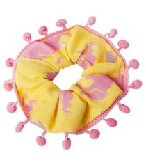 elástico de cabelo infantil scrunchie ania store unicórnio amarelo
