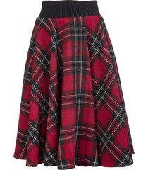 red valentino flared midi skirt in red wool with tartan motif