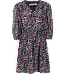 rebecca minkoff foliage-print flared dress - black