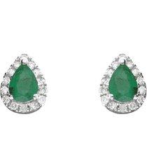 orecchini a lobo a goccia in oro bianco con smeraldi 0,26 ct e diamanti 0,085 ct per donna
