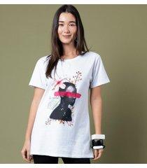 t-shirt alongada estampa lupita p incolor