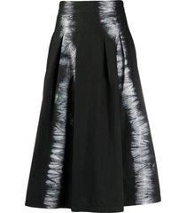 msgm tie-dye a-line skirt - black