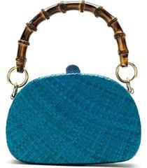 serpui straw clutch bag - blue