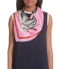 women's gucci tiger faces scarf, size one size - pink
