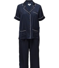 dkny walk the line top & crop pant pyjama blauw dkny homewear