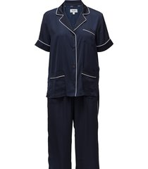 dkny walk the line top & crop pant pyjama blauw dkny homewear