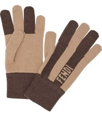 fendi cashmere striped gloves - neutrals