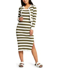 river island stripe cotton dress & cardigan set, size 8 us in dark green at nordstrom