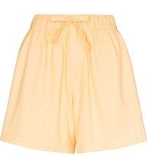 tekla wide-leg cotton pajama shorts - yellow