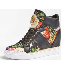 sneakersy z wysoką cholewką i wstawkami w kwiaty