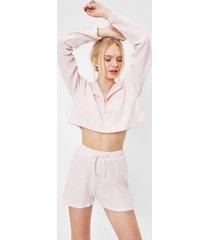 womens cropped button down shirt and shorts pajama set - blush