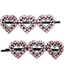 ashley williams heart crystal hair clips - black