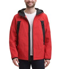 dkny men's regular-fit hooded rain jacket