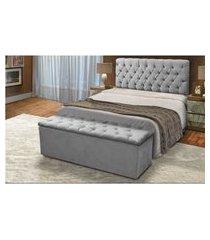 cabeceira mais calçadeira baú king 195cm para cama box sofia suede cinza - ds móveis
