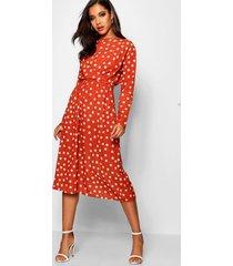 wrapped front polka dot midi dress, rust