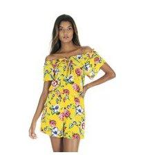 macaquinho curto ombro a ombro estampado floral amarelo