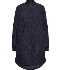 kashally quilted coat doorgestikte jas blauw kaffe