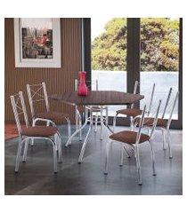 conjunto de mesa de jantar com 6 cadeiras vancouver corino marrom e tabaco
