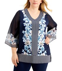 jm collection plus size printed studded top, created for macy's