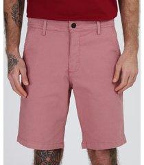 bermuda de sarja masculina chino reta com bolsos rosa