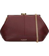 visone clutch in bordeaux leather