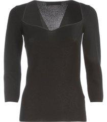 gentry lurex heart neck 3/4s sweater