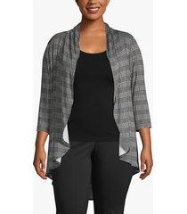 lane bryant women's drape-front cardigan 26/28 black and white plaid