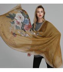 donna casual scialle sciarpa in cotone-lino misto con stampa ink di stile caldo etnico