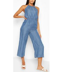 chambray halterneck jumpsuit, mid blue