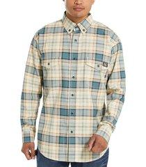 wolverine men's fr plaid long sleeve twill shirt bering plaid, size xxxl